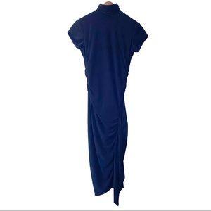 Frank Lyman Black Mock Neck Ruched Cocktail Dress